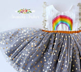 Custom 3rd birthday star dust tulle dress with sleeves