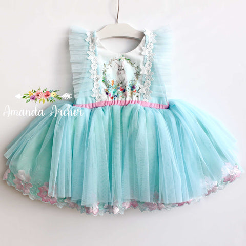Bunny Dress, aqua blue tulle