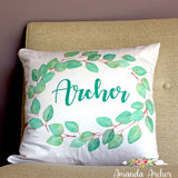 Eucalyptus Personalized Pillow Cover 18x18""