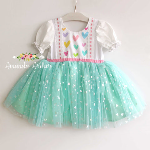 Pastel Rainbow Hearts Dress