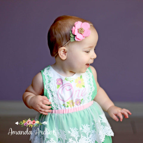 1st Birthday Keepsake Romper, Spring Mint