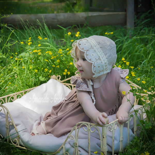 Walnut Flower Bonnet, Toddler and Baby