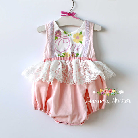 1st Birthday Keepsake Romper, Blush Pink