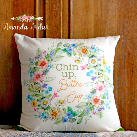 Cheerful Floral Wreath, Pillow Cover 18x18""