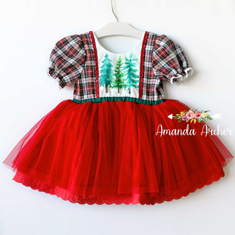 Red Plaid Forest Tulle Dress