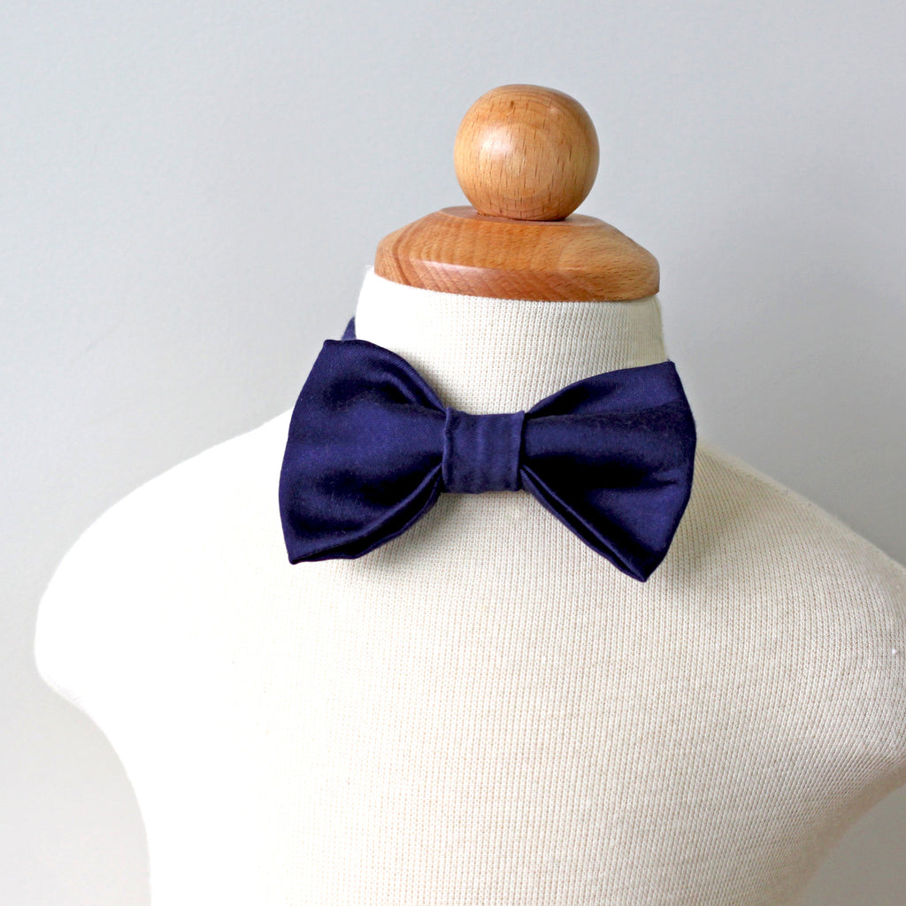 Midnight Navy Cotton Bow Tie, Boy, Toddler, Baby