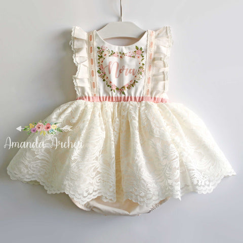 Personalized Name Dress, Cream Lace MTO