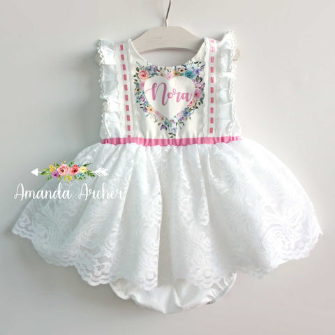 Personalized Name Dress, White Lace MTO