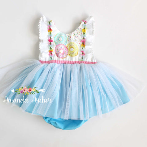 Donut Grow Up Tulle Romper, Pastel