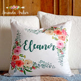 Rose Floral Personalized Pillow Cover 18x18""