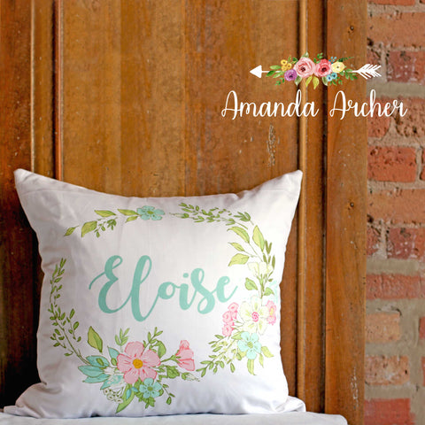 Floral Wreath Personalized Pillow Cover 18x18""