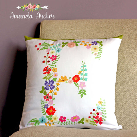 Floral Letter Personalized Pillow Cover 18x18""