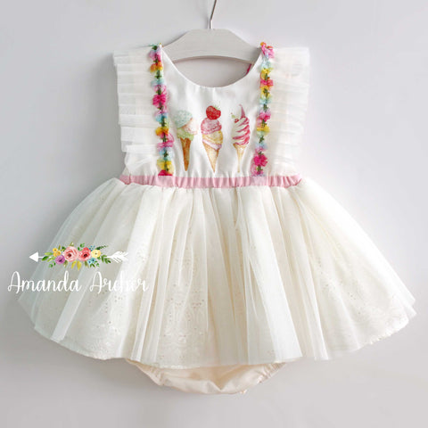 Triple Ice Cream Tulle Romper