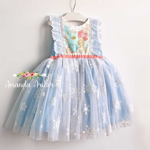 Ice Princess Snowflake Tulle Dress- READY TO SHIP