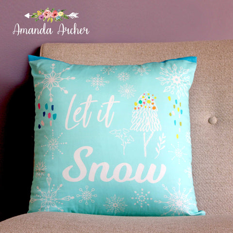 Let It Snow, Pillow Cover 18x18""
