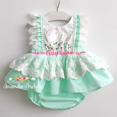 Mint Floral First Birthday Romper Dress