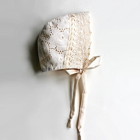 Cream Eyelet Rose Bonnet, Toddler and Baby