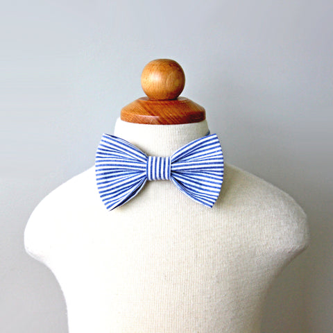 Navy Seersucker Bow Tie, baby, toddler, kid sizes