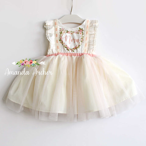 Custom Name Dress, Ivory tulle and blush