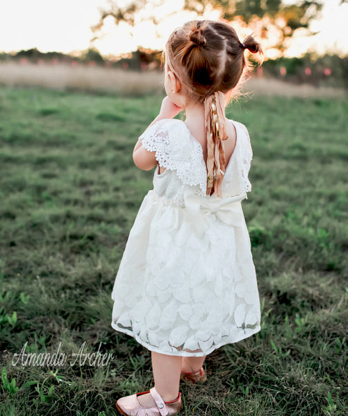Flower Blossom Lace Dress, Off-White