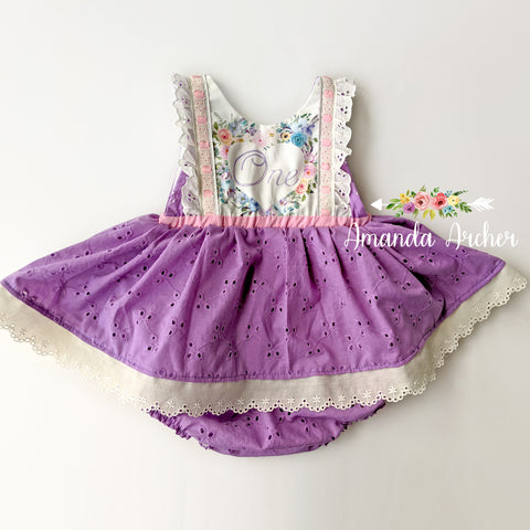 You Have My Heart 1st Birthday Romper, Purple