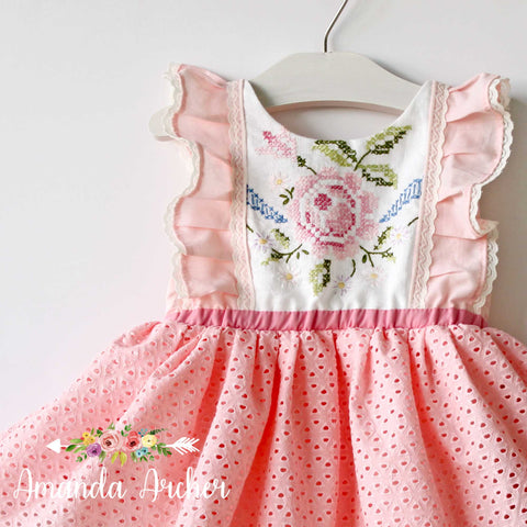 Cross Stitch Rose Anglaise Pink Dress/Romper MTO
