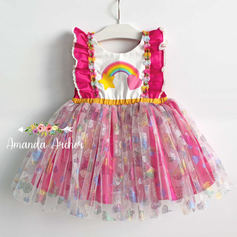 Rainbow Heart Tulle Dress, magenta pink
