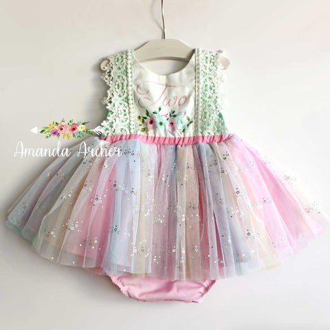 2nd Birthday Floral Watercolor Rainbow Sequin Romper 2T RTS