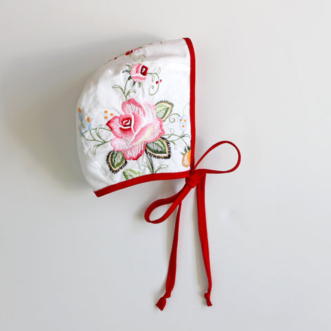 Red Rose Embroidered Bonnet