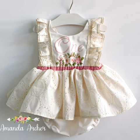 Rose and Cream 1st Birthday Romper Dress RTS