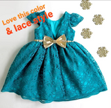 Custom Teal, rustic red/coral birthday dress with sleeves
