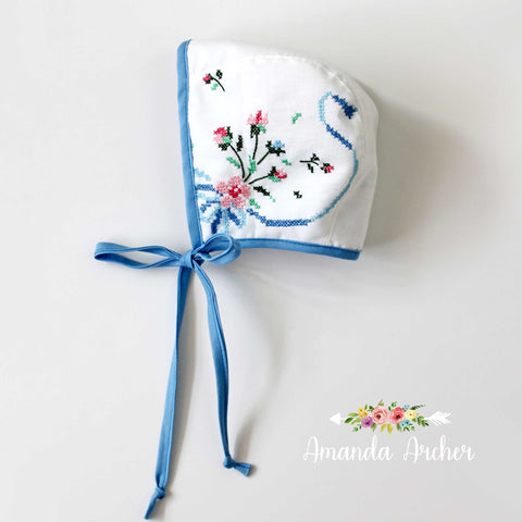 Vintage Embroidered Flower Bonnet