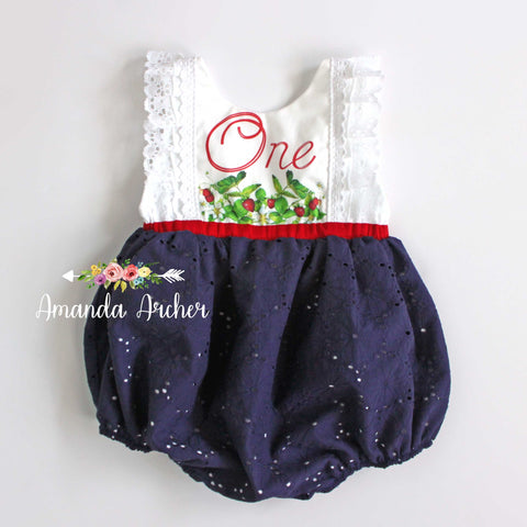 Summer Strawberry 1st Birthday Bubble Romper, RTS