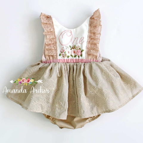 Vintage Rose 1940's 1st Birthday Dress Romper RTS