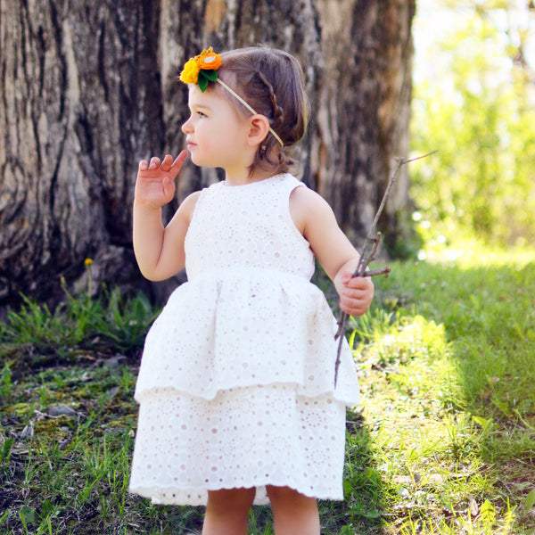 WildFlower Eyelet Flower Girl Dress, off-white, light ivory