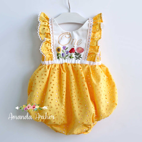 Here Comes the Sun, 1st Birthday Yellow Eyelet Bubble RTS