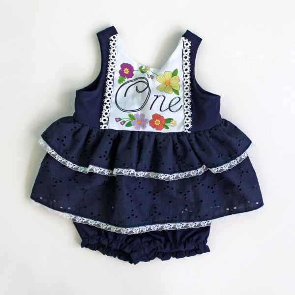 Baby's 1st Birthday Party Pinafore Dress with Bloomer Set, Navy Blue Eyelet, Garden Party READY TO SHIP