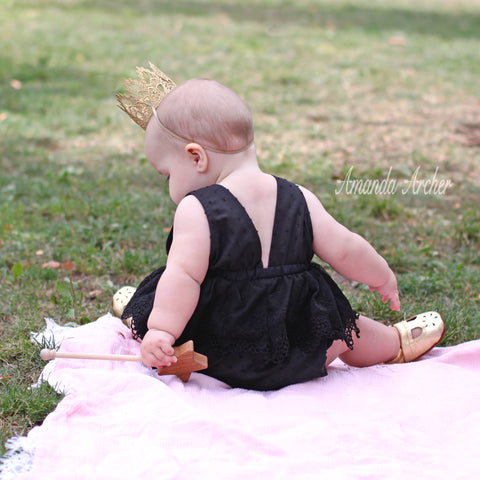 Black Lace Romper for Baby and Toddler