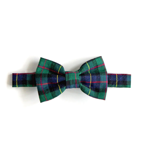 Blue Green Plaid Bow Tie