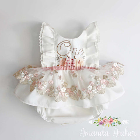 Blush & Gold 1st Birthday Keepsake Romper, READY TO SHIP