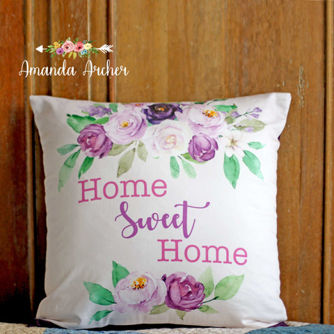 Purple Flowers, Pillow Cover 18x18""