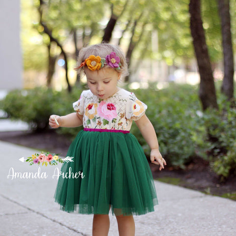 Emerald Jewel Floral Tulle Dress