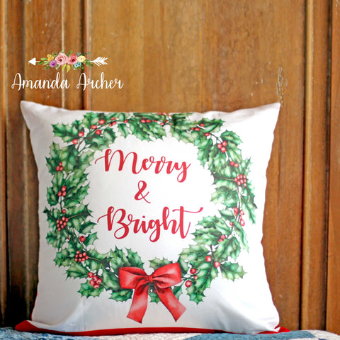 Christmas Wreath, Pillow Cover 18x18""