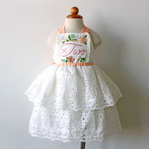 2nd Birthday Keepsake Dress, Peaches and Cream