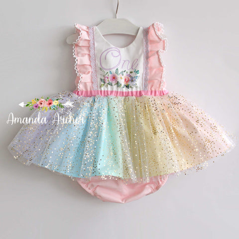 Rainbow Sparkle 1st Birthday Romper