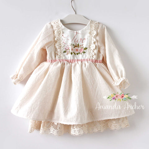 Birthday TWO Dress with long sleeves 2T