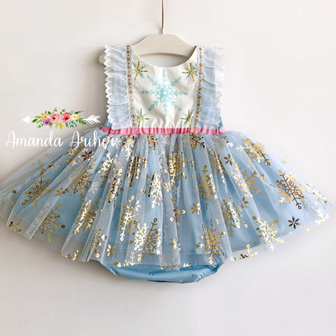 Frozen Snowflake Skirted Romper or Dress
