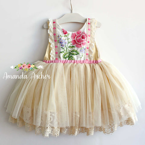 Painted Roses, Vintage and Tulle Dress