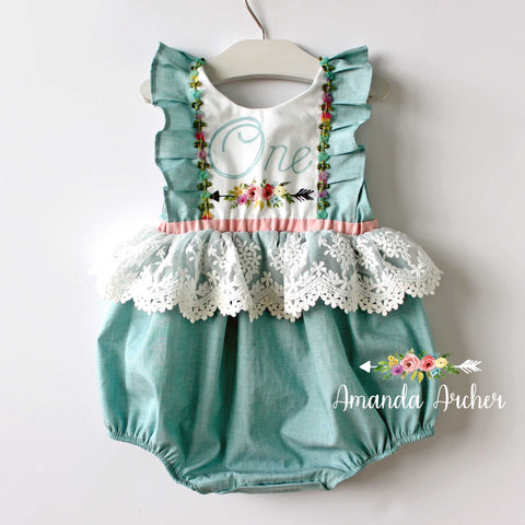 Birthday Keepsake Romper, Teal