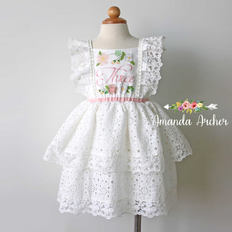 3rd Birthday Party Keepsake Dress, Off White Eyelet
